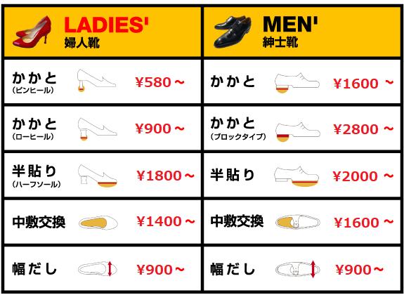 靴の修理格安料金プラン